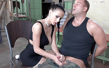 Sexy black-hearted behave oneself with dick of military