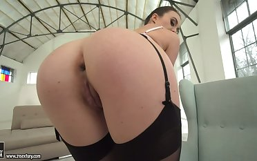 Ardent whore Tiffany Cookie bends over and lets dude fingerfuck anus
