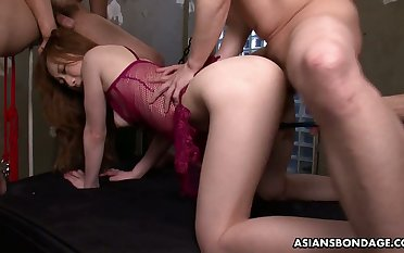 Asian tied up babe Aimi Ichijo gets her pussy fucked and creampied