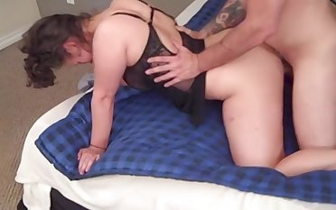 chubby brunette takes a rock hard dick