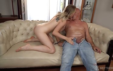 Evil blowjob is given to unlucky stud by light haired gal Lily Rafter