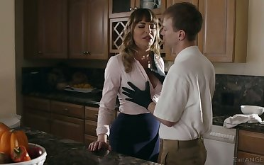 Gorgeous mommy Dana DeArmond bangs her stepson and give shim a splendid BJ